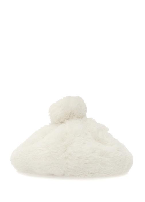 Beyaz Şeritli Peluş Kız Çocuk Yün Bere