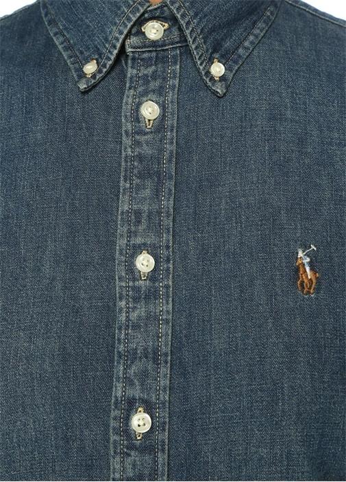 Custom Fit Düğmeli Denim Gömlek