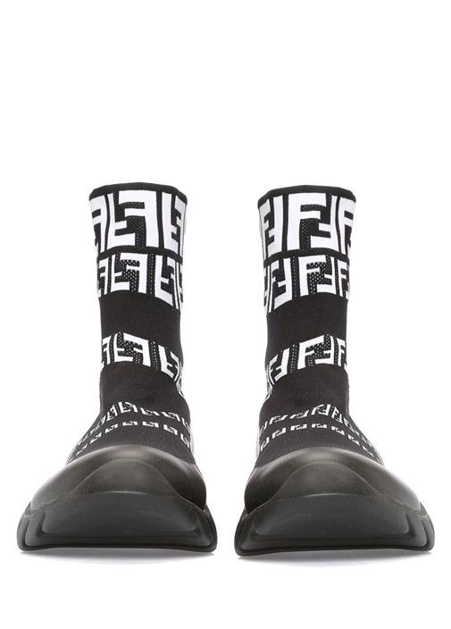 Siyah Logo Jakarlı Çorap Formlu Erkek Sneaker