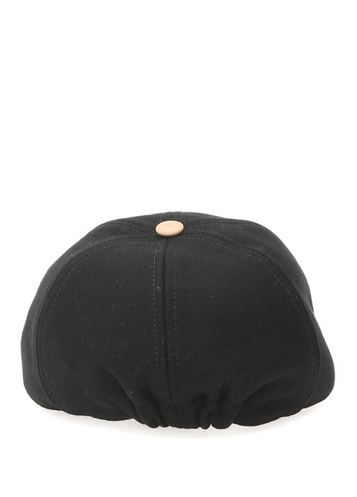 Siyah Bej Logo Nakışlı Erkek Çocuk Yün Şapka