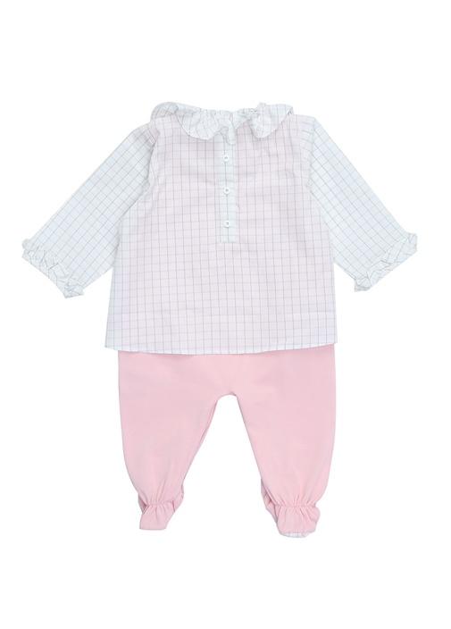 2li Pembe Beyaz Ekoseli Kız Bebek TulumSeti