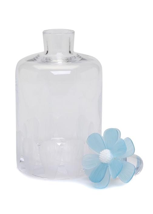 Beyaz Çiçek Detaylı Cam Karaf
