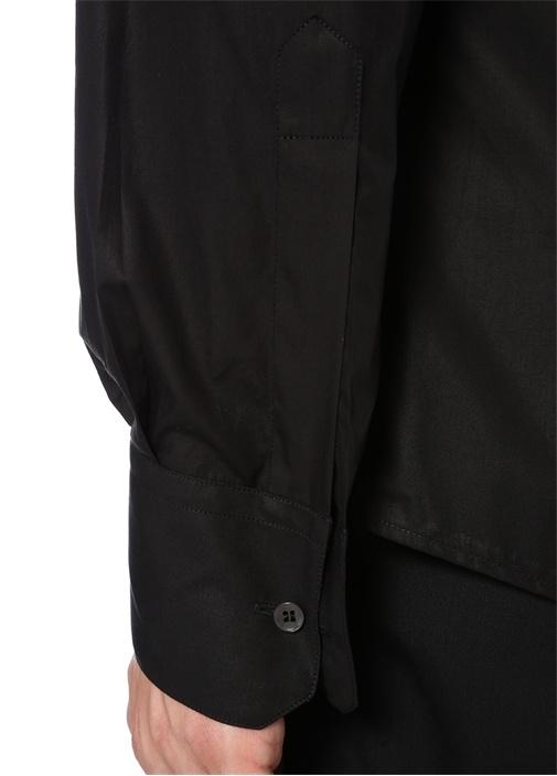 Gold Fit Siyah Klasik Yaka Logo İşlemeli Gömlek