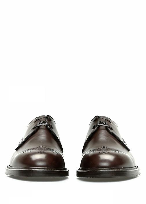 Kahverengi Bağcıklı Desenli Erkek Deri Ayakkabı