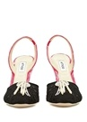 Mara Siyah Pembe Taşlı Kadife Topuklu Ayakkabı