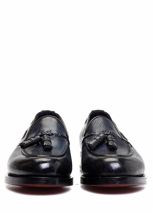 Lacivert Dokulu Püsküllü Erkek Deri Loafer