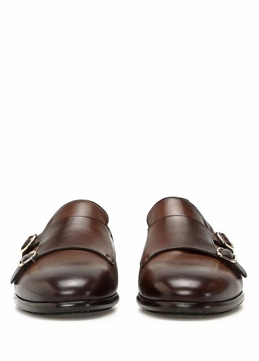 Kahverengi Çift Kemerli Erkek Deri Loafer