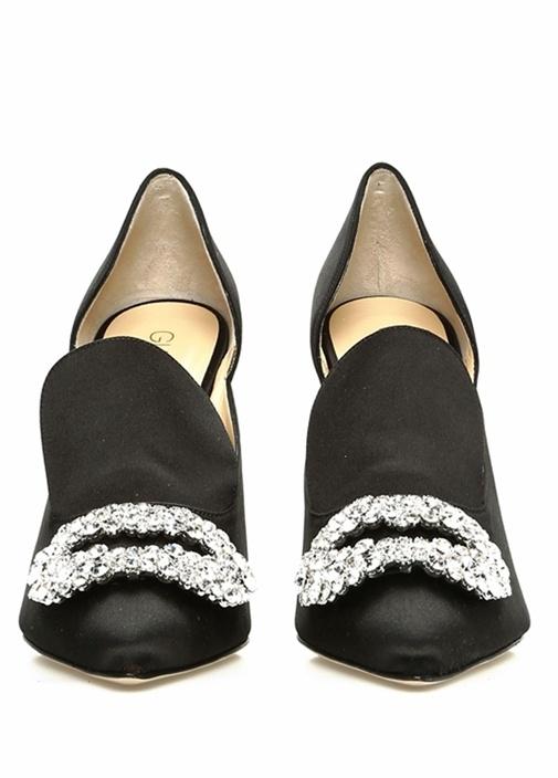 Daphne Siyah Taş İşlemeli Saten TopukluAyakkabı