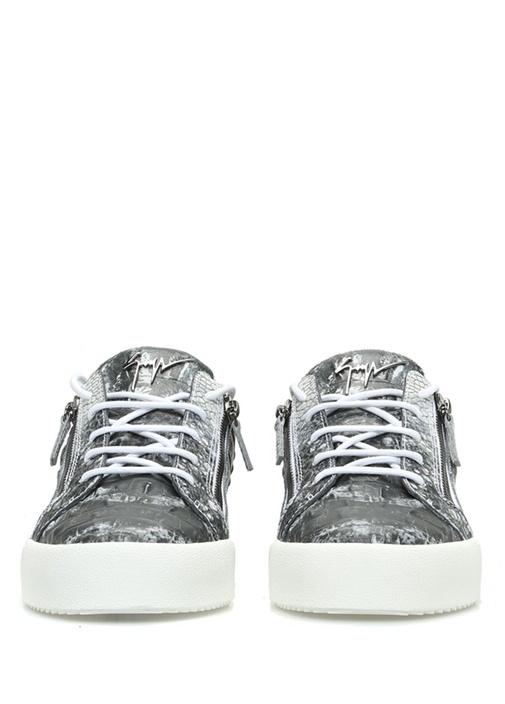 Siyah Gri Dokulu Erkek Deri Sneaker