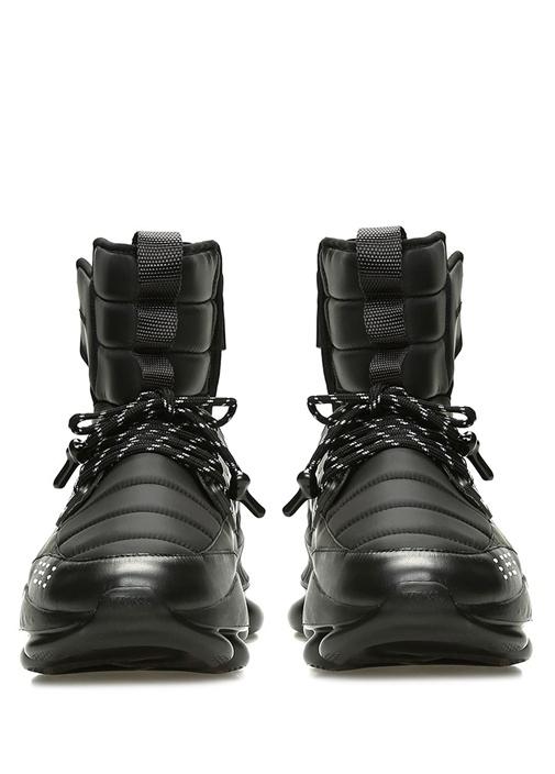 Siyah Logolu Kalın Tabanlı Erkek Deri Sneaker