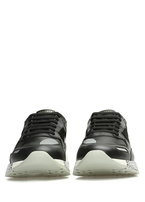 Siyah Logolu Taban Detaylı Erkek Deri Sneaker
