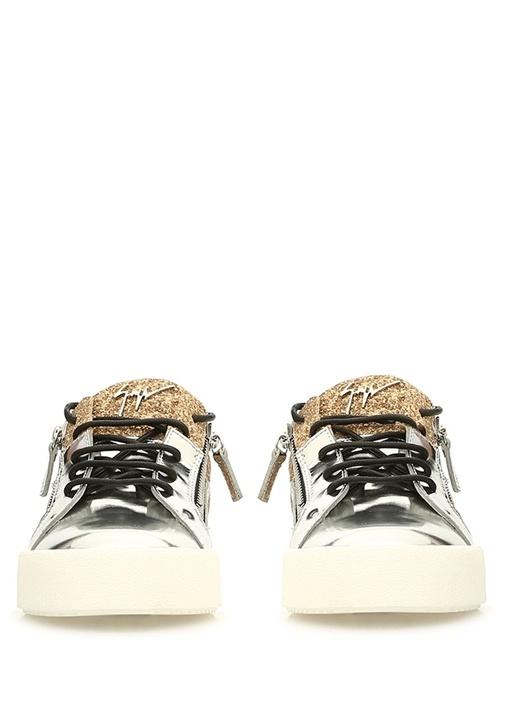Double Gold Silver İşlemeli Kadın Deri Sneaker
