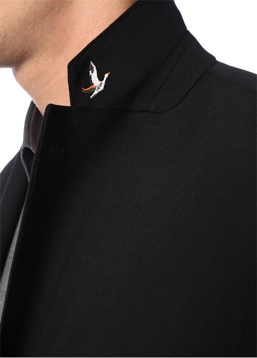 Siyah Kelebek Yaka Blazer Ceket