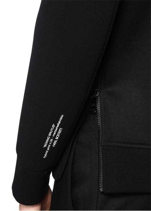 Siyah Baskılı Fermuar Detaylı Sweatshirt