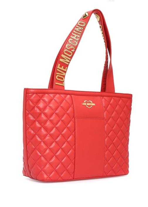 Kırmızı Kapitoneli Gold Logolu Kadın Çanta