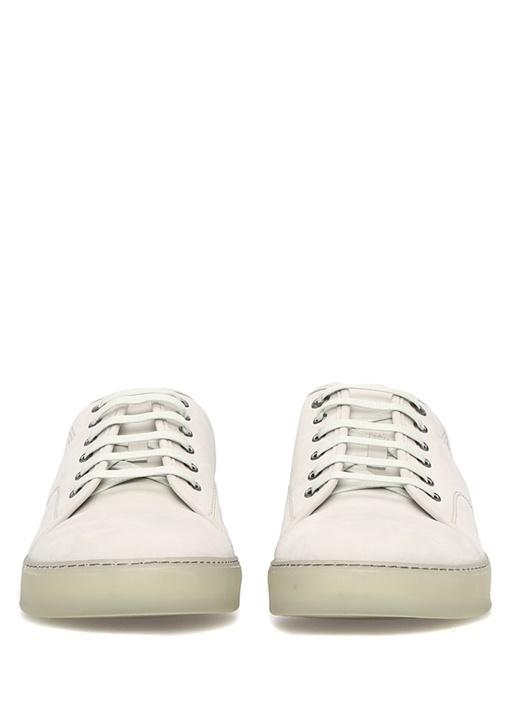 Beyaz Logolu Erkek Nubuk Sneaker