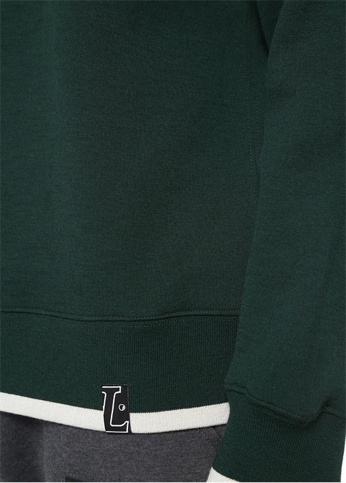 Yeşil Bisiklet Yaka Logo Detaylı Sweatshirt