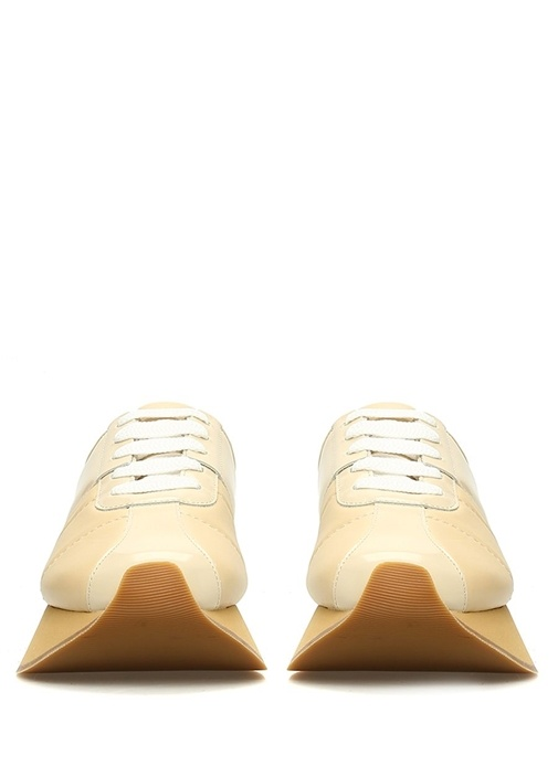 Bej Kalın Tabanlı Kadın Deri Sneaker