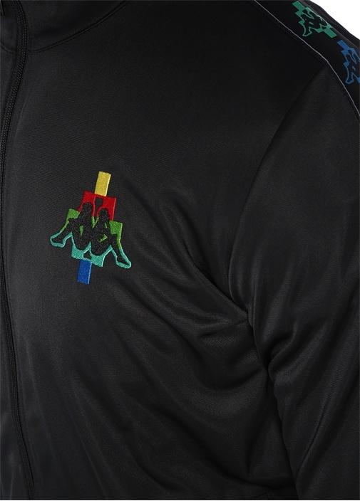 Siyah Logo Nakışlı Dik Yaka Sweatshirt