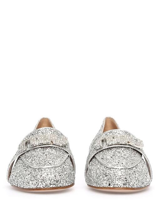 Silver Payetli Taşlı Logolu Kadın Loafer