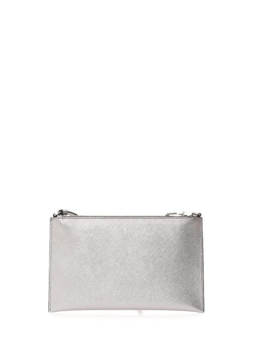 Metalik Silver Dokulu Kadın Deri MakyajÇantası