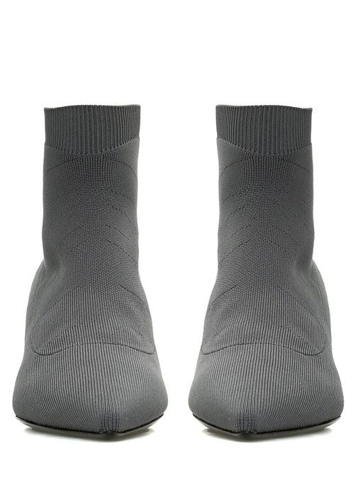 Gri Topuklu Çorap Formlu Kadın Bot