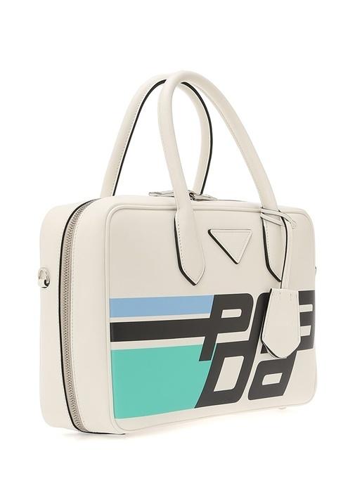 Beyaz Logolu Kadın Deri Laptop Çantası