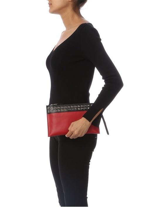 Kırmızı Troklu Logolu Kadın Deri El Portföyü