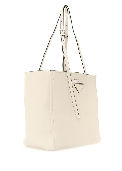 Beyaz Logolu Kadın Deri Alışveriş Çantası