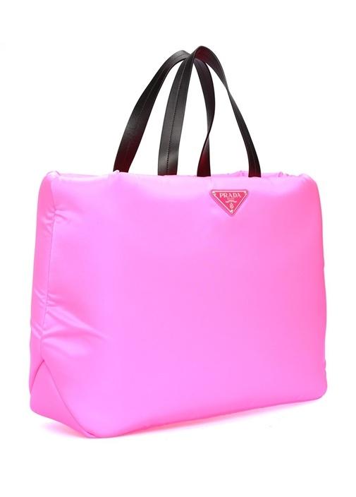 Neon Pembe Logolu Kadın Alışveriş Çantası