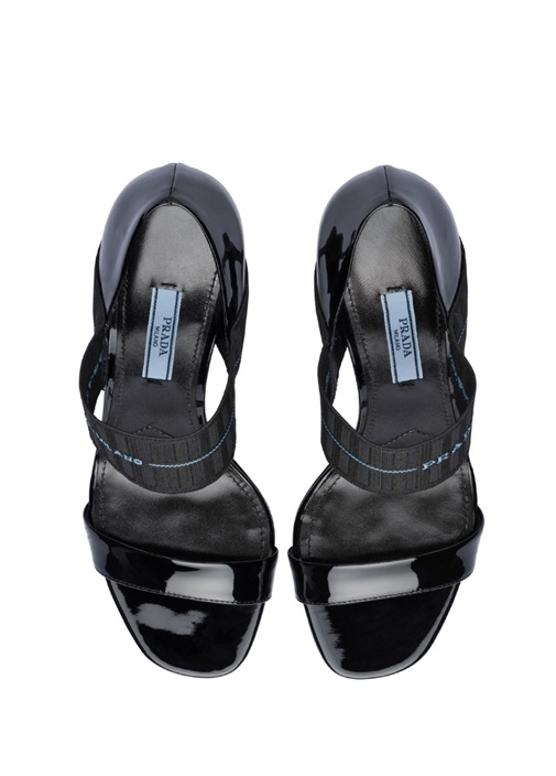 Siyah Logo Bantlı Kadın Deri Sandalet