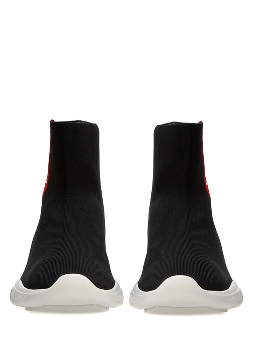 Siyah Çorap Formlu Logo Şeritli Kadın Sneaker