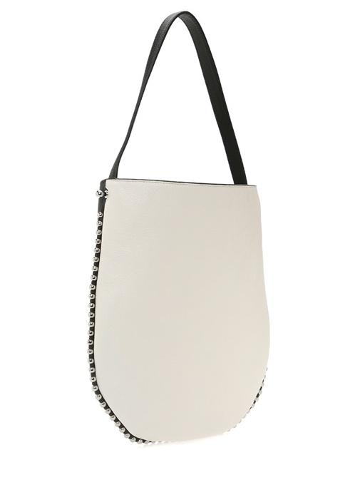 Bianco Roxy Siyah Beyaz Dokulu Kadın Deri Çanta