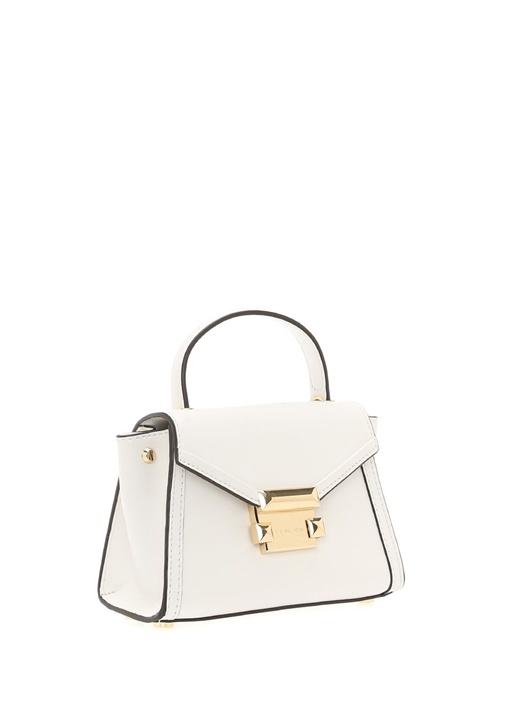 Whitney Mini Beyaz Logolu Kadın Deri Çanta