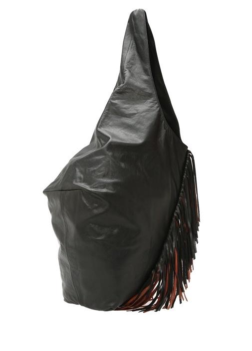 Eenda Siyah Taba Püsküllü Kadın Deri Çanta