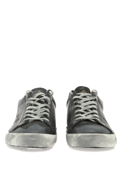 Super Star Siyah Eskitmeli Erkek Deri Sneaker