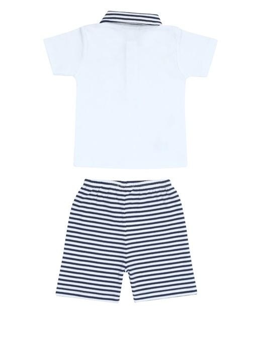 Lacivert Beyaz Çizgili Erkek Bebek Bermuda Takımı