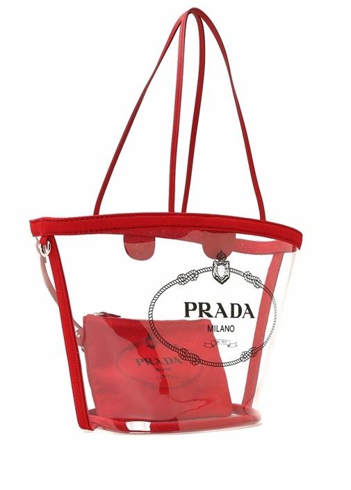 Kırmızı Logolu Transparan Kadın Alışveriş Çantası
