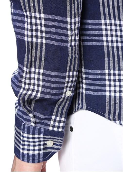 Slim Fit Lacivert Yakası Düğmeli Desenli Gömlek