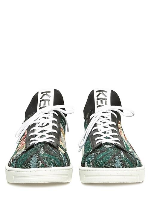 Yeşil Çiçek Desenli Erkek Deri Sneaker