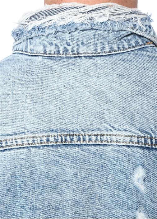 Mavi Yıpratmalı Organik Pamuk Ceket