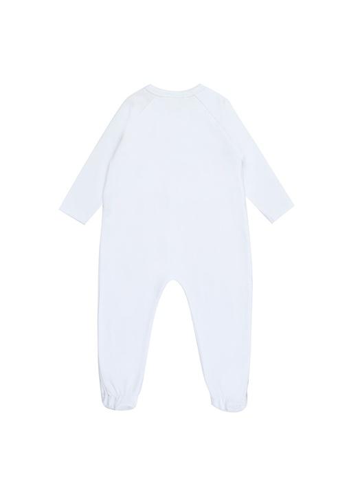 Beyaz Pembe Logolu Kız Bebek Çantalı Tulum Seti