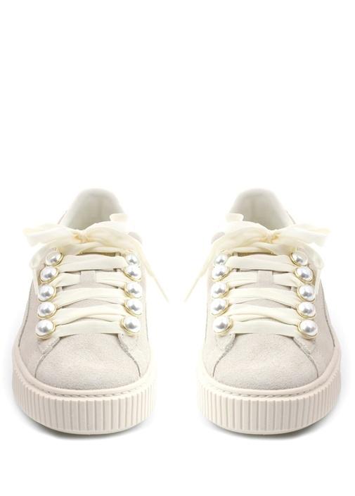Platform Bling Beyaz Kadın Süet Sneaker