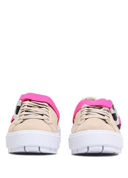 Platform Trace Buckle Pembe Kadın Süet Sneaker