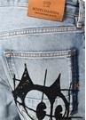 Mavi Normal Bel Figür Baskılı Jean Pantolon