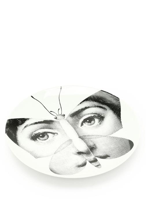 No 96 Yüz Baskılı Porselen Dekoratif Tabak