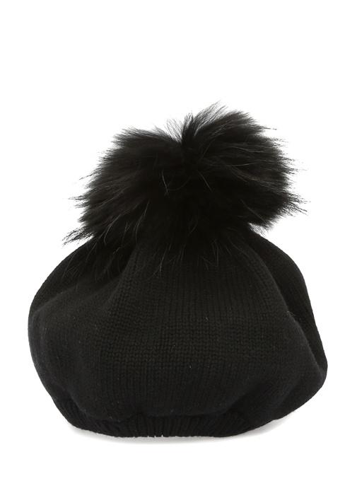 Siyah Suni Kürk Ponponlu Kadın Yün Bere