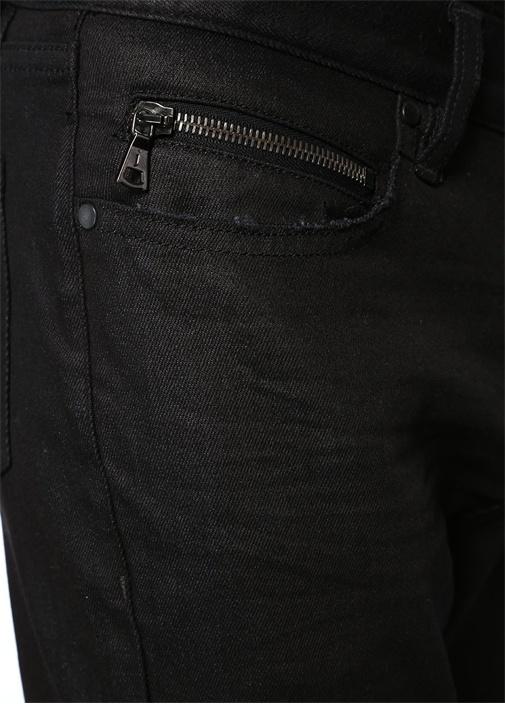 Siyah Normal Bel Dar Paça Dokulu Jean Pantolon