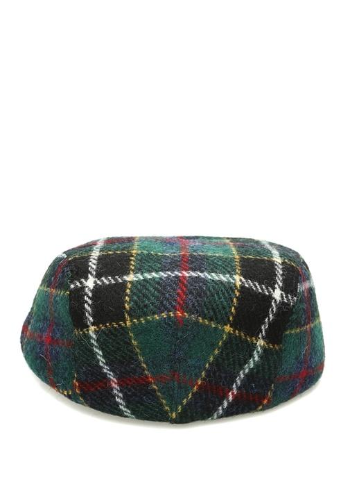 Yeşil Ekoseli Örgü Dokulu Erkek Yün Şapka