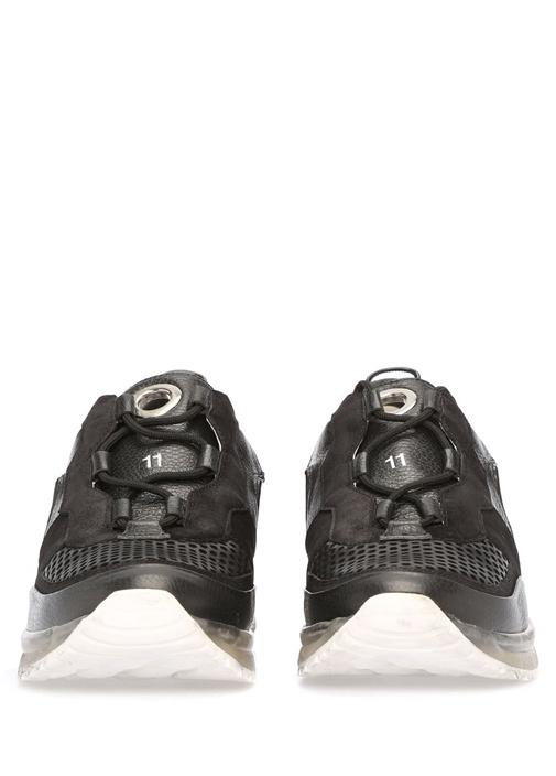 Siyah Fileli Taban Detaylı Çizgili Erkek Deri Snea